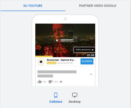 screenshot annuncio campagna instream youtube novenovepi