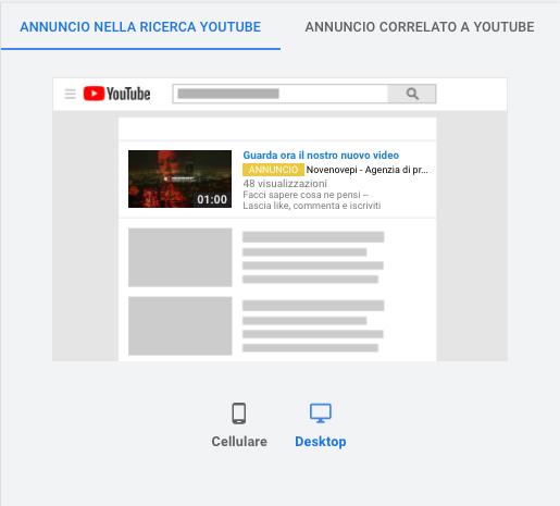 screenshot annuncio campagna discovery youtube novenovepi